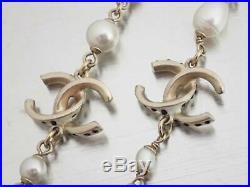 Auth CHANEL A16C CC Logo Necklace Faux Pearl Goldtone e43507
