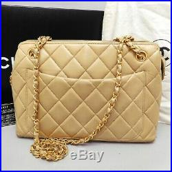 Auth CHANEL Beige Lambskin Matelasse Double Sided Chain Shoulder bag France box