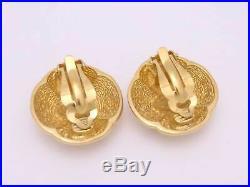 Auth CHANEL CC Logo Button Clip-on Earrings Goldtone e41086