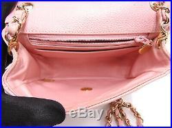 Auth CHANEL CC Mini Matelasse 17 Chain Shoulder Bag Caviar Skin Pink Gold V-0564