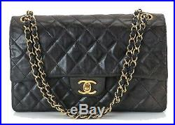 Auth CHANEL Double Flap Black Quilted Leather Gold Chain Shoulder Bag #26994A