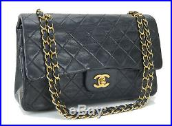 Auth CHANEL Double Flap Black Quilted Leather Gold Chain Shoulder Bag #32472