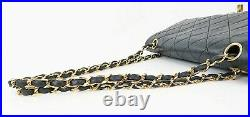 Auth CHANEL Double Flap Black Quilted Leather Gold Chain Shoulder Bag #37866