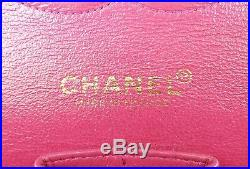 Auth CHANEL Double Flap Pink Quilted Leather Gold Chain Shoulder Bag #32981