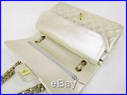 Auth CHANEL Flap Bag Chain 2.55 Satin Champagn Gold Quilted GHW W10 W25cm