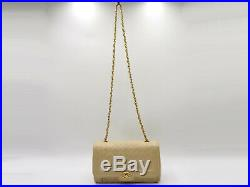 Auth CHANEL Matelasse 25 Single Flap Chain Shoulder Bag Lambskin Beige Gold 0007