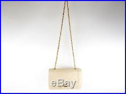 Auth CHANEL Matelasse 25 Single Flap Chain Shoulder Bag Lambskin Beige Gold 0567