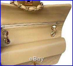 Auth Chanel Beige 2.55 Vintage Small 9 Classic Double Flap Bag 24k Gold HW