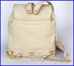Auth Chanel Beige CAVIAR 3 Logos Backpack Vintage Bag 24k Gold HW Excellent