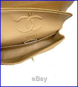 Auth Chanel Beige CAVIAR Medium 10 Classic Double Flap Bag 24k Gold HW MINT
