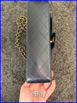 Auth Chanel Black 2.55 Vintage Medium 10 Classic Double Flap Bag gold hw