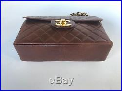 Auth Chanel Brown Vintage 12 Jumbo With XL logo Bag 22k Gold Hw