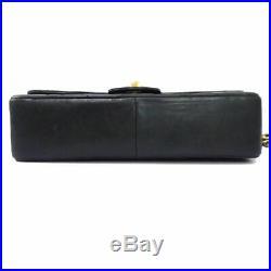 Auth Chanel Ghw Double Flap Lamb Leather Chain Shoulder Bag W25 Black D1345