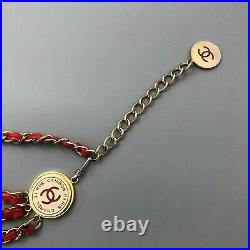 Auth Chanel Ladies Vintage CC LOGO Red Lambskin Leather Gold Chain Triple Belt