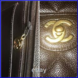 Auth. Chanel Quilted Classic Caviar 12 Jumbo Single Flap Bag 24kt Gold Hardware