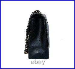 Auth Chanel Vintage 13 XL Maxi Classic Jumbo Bag 24k Gold Plated HW