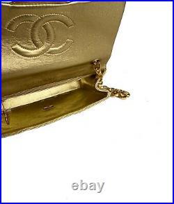 Auth Chanel Vintage Gold Metallic Classic Mini Square Flap Bag 24k Gold Hardware