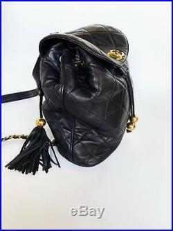 Auth Chanel Vintage tassel Quilted Black Backpack Drawstring bag 24k Gold HW
