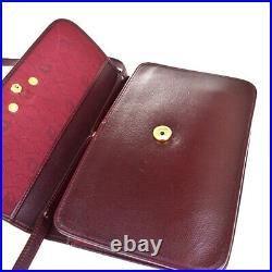 Auth Christian Dior CD Logo Shoulder Bag Leather Bordeaux Gold France 01BQ064