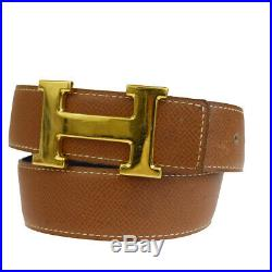 Auth HERMES Constance Reversible H Buckle Belt Leather Gold Brown #65 68EP983