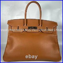 Auth Hermes Birkin 35cm Gold Swift Leather Silver Hardware Shoulder Satchel Bag