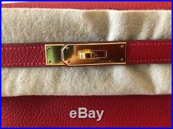 Auth Hermes Kelly Rouge Casaque 28cm Clemence Retourne Gold Hw Bag