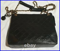 Auth. Vintage Chanel Black Gold quilted matelasse Lamb Skin 10 x 12 x 3.25