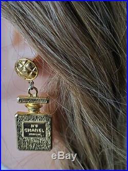 Auth. XXL Vintage Chanel Perfume Bottle Earrings Drop Dangle Clip On Gold Ton