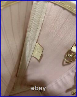 Authen LOUIS VUITTON Damier Azur TAHITIENNE Rose NEVERFULL MM+ POCHETTE