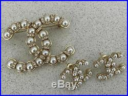 Authentic 2019 Iconic Chanel Pearl Crystal CC Logo Pin Brooch Earrings Set