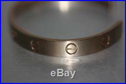 Authentic CARTIER Love Cuff Bangle Bracelet Solid 18K Rose Gold Size 17
