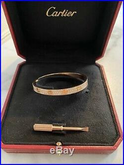 Authentic CARTIER Pave Diamond Love Bangle / Bracelet 18k Rose Gold Size 17