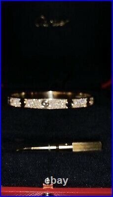 Authentic CARTIER Pave Diamond Love Bracelet 18k Yellow Gold Size 17 Box&Papers
