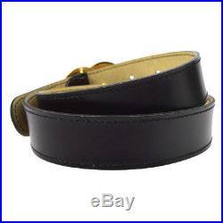 Authentic CHANEL CC Buckle Belt Black Gold Leather 65 France Vintage RK12985