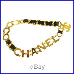 Authentic CHANEL CC COCO Gold Chain Belt Black Leather Vintage AK34165b