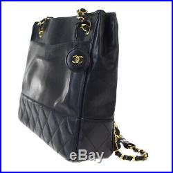 Authentic CHANEL CC Chain Shoulder Tote Bag Leather Black Gold Vintage 77EY034