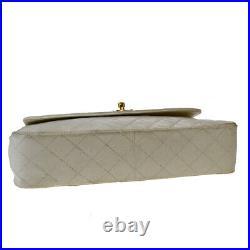 Authentic CHANEL CC Logo Chain Shoulder Bag Leather White Gold Vintage 50LA941