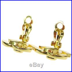 Authentic CHANEL CC Logo Turn Lock Earrings Clip-On Gold-tone France 96A 36BK140