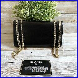Authentic CHANEL CC Logo Wallet On Chain Shoulder Bag Black Leather