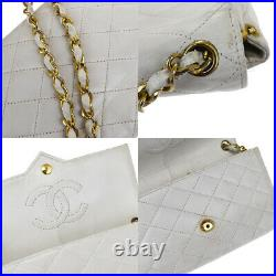 Authentic CHANEL CC Logos Quilted Chain Shoulder Bag Leather White Gold 631BS389