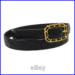Authentic CHANEL CC Quilted Buckle Belt Black Gold Leather Vintage A42456