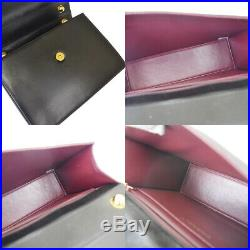 Authentic CHANEL CC Shoulder Bag Metal Leather Black Gold Tone Vintage 70EX997