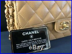 Authentic CHANEL Classic Double Flap Quilted Beige Caviar Bag Gold