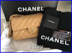 Authentic CHANEL Classic Double Flap Quilted Caramel/Beige Caviar Bag Gold