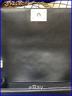 Authentic CHANEL Lambskin Quilted Medium Boy Flap Black Crossbody Shoulder Bag