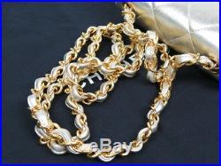 Authentic CHANEL Matelasse Quilted Chain Mini Shoulder Bag Vintage GOLD r1486