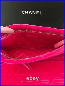 Authentic CHANEL Medium Pink Neon Velvet O Case Matelasse Quilted Clutch Bag