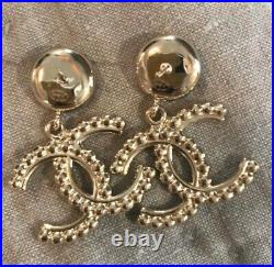 Authentic CHANEL Receipt New SOLD OUT CC Gold Drop Crystal Pear Dangle Earrings