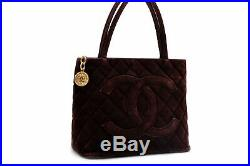 Authentic CHANEL Suede Matelasse Medallion Gold CC Logo Hand Bag Brown 88201