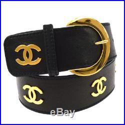 Authentic CHANEL Vintage CC Buckle Belt Black Gold Leather 65/26 AK29871